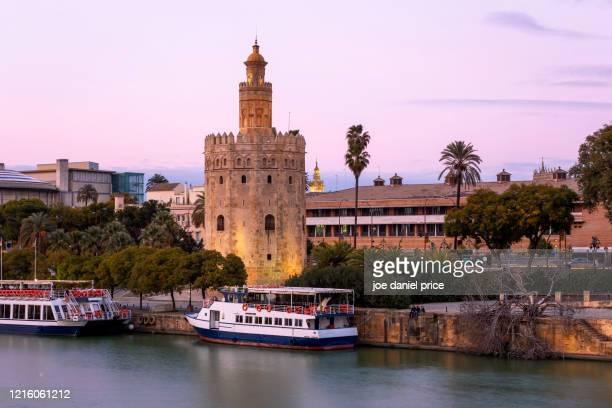twilight, torre del oro, seville, andalucia, spain - sevilla fotografías e imágenes de stock