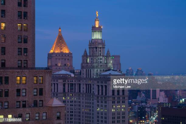 twilight view of municipal building - new york - town hall government building stock pictures, royalty-free photos & images
