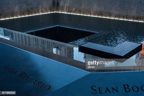 twilight view of the 9/11 memorial in new york - reflection pool stock pictures, royalty-free photos & images