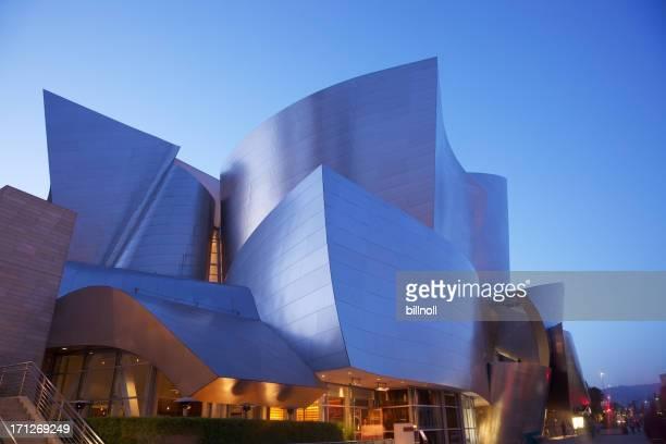 Twilight view of Walt Disney Concert Hall