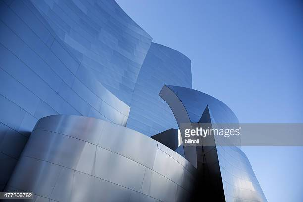 twilight view of walt disney concert hall - frank gehry stock photos and pictures
