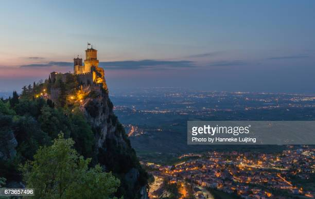 twilight views from san marino - republic of san marino stock photos and pictures