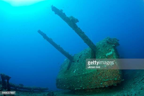 Twin 8-inch 55 caliber Gun on USS Saratoga, Marshall Islands, Bikini Atoll, Micronesia, Pacific Ocean