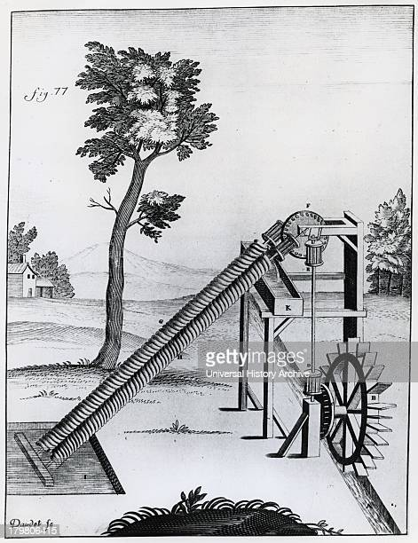 Twin Archimedean screw raising water Engraving 1719