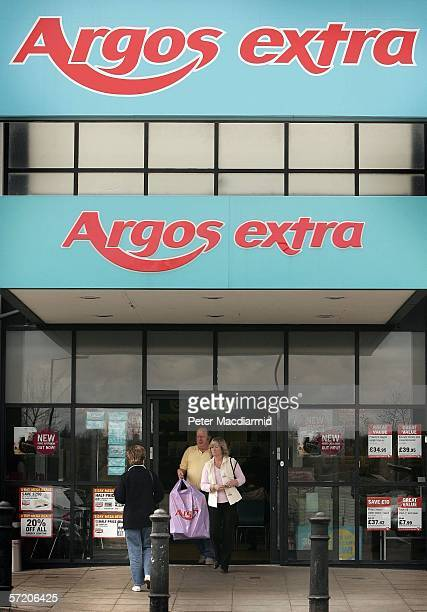 Twin Argos logos are displayed at a branch of the catalogue shop near Byfleet on March 29 2006 in Surrey England Parent company GUS is to demerge...