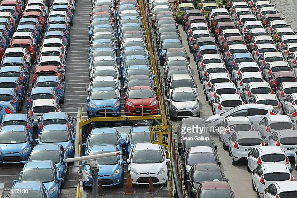 A twin barge transports new German Ford cars down the Rhine River on May 14 2011 in Dusseldorf Germany The latest German economic data show a robust...