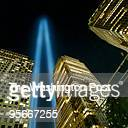 Twin beams of light reach skyward in the ethereal memorial to the victims of the World Trade Center terrorist attacks on 9/11 in New York last year....
