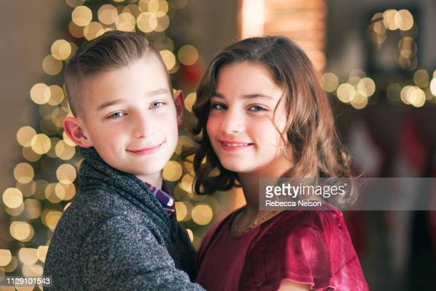 Twin brother and sister at Christmas