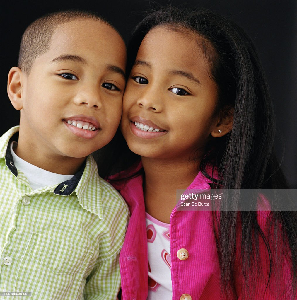 Picture For Brother Sister: Twin Brother And Sister Cheek To Cheek Portrait Stock