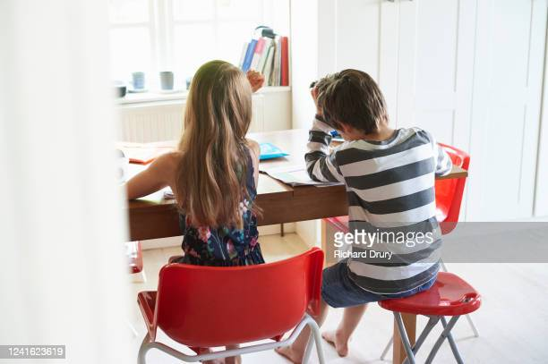 twin brother and sister home schooling - school child stock pictures, royalty-free photos & images