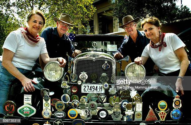 Twin brothers Bernie and Brian McMahon who married twin sisters Pam and Pauline with their 1927 Chevy 26 January 2003 SMH Picture by BEN RUSHTON