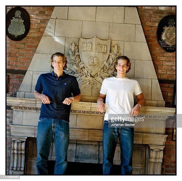 Twin brothers Cameron Winklevoss and Tyler Winklevoss are photographed for Vanity Fair Magazine on October 21 2000 in Boston Massachusetts