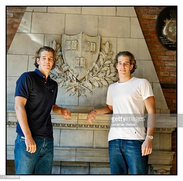Twin brothers Cameron Winklevoss and Tyler Winklevoss are photographed for Vanity Fair Magazine on October 21, 2000 in Boston, Massachusetts.