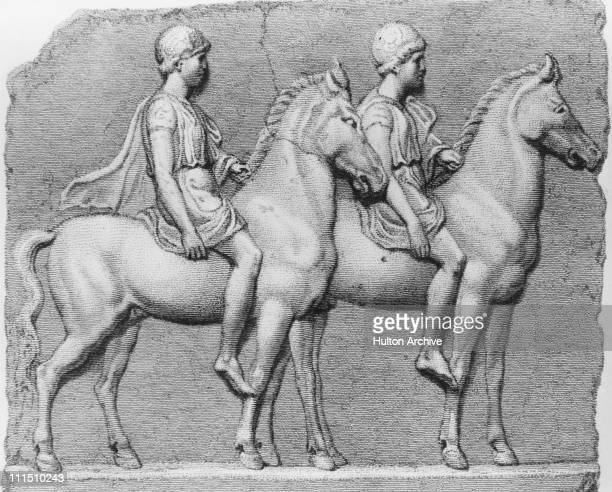 Twin brothers Castor and Pollux or Polydeuces the Dioscuri of Greek mythology circa 1950 They were the brothers of Helen of Troy and Clytemnestra