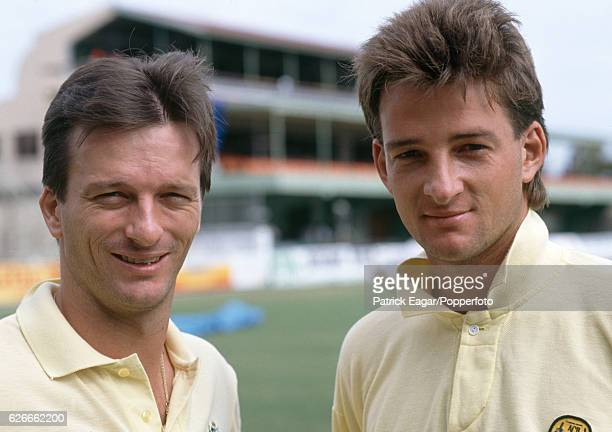 Twin brothers Steve Waugh and Mark Waugh of Australia before the 1st Test match between West Indies and Australia at Sabina Park Kingston Jamaica 1st...