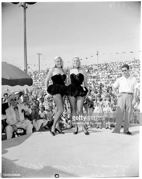 Twin Contest at Huntington Beach 31 August 1952 Janice Anderson 15 yearsJoanne Anderson 15 years Teresa Mathews 4 yearsJeanette Mathews 4 yearsSheri...