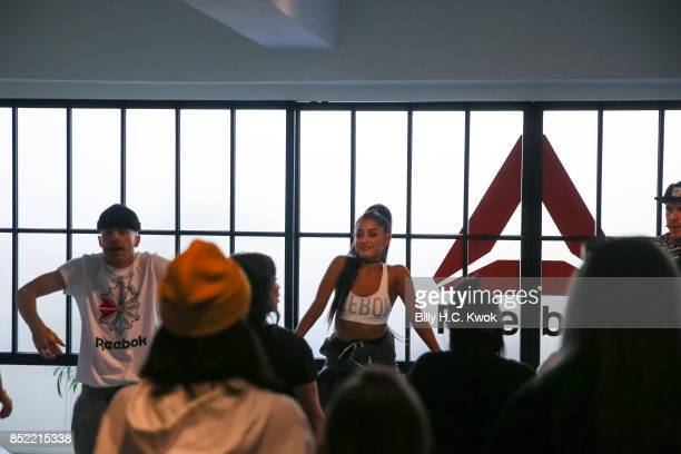 Twin dancers Brian Nicholson Scott Nicholson and Ariana Grande attend An Inspiring 'Day in the Life' of Ariana Grande to celebrate new partnership...