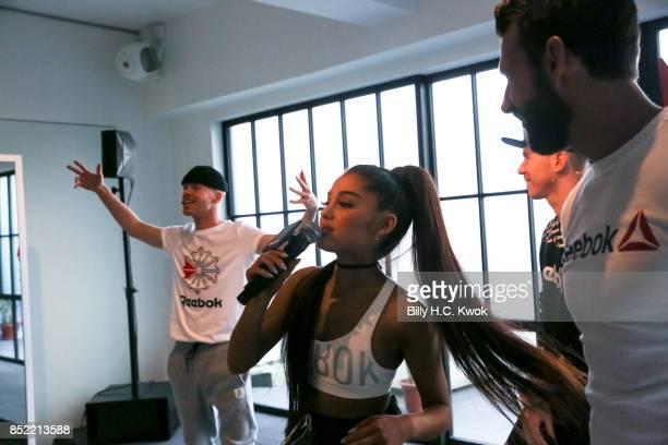 Twin dancers Brian Nicholson Scott Nicholson Reebok host Chad Wittman and Ariana Grande attend An Inspiring 'Day in the Life' of Ariana Grande to...