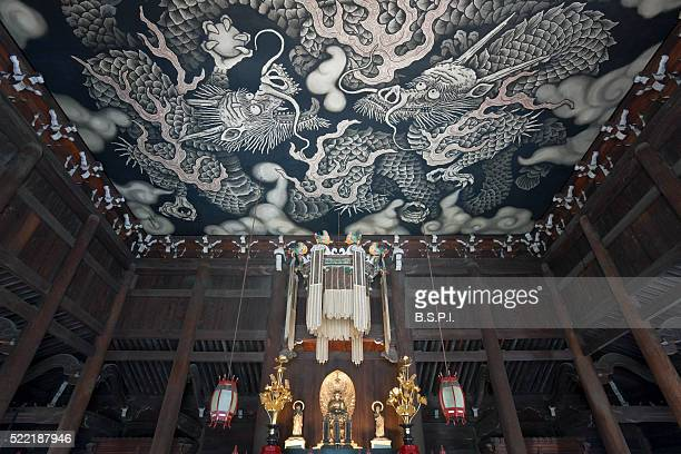 Twin Dragons Ceiling Mural at Kennin-ji Zen Buddhist Temple in Kyoto, Japan