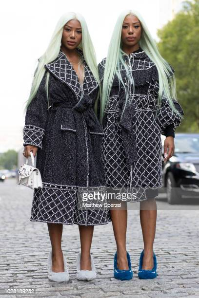 Twin guests are seen on the street attending New York Fashion Week SS19 wearing Laurence Chico on September 6 2018 in New York City