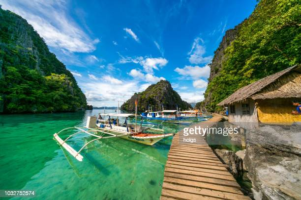 twin lagoon in coron, palawn, philippines - palawan stock pictures, royalty-free photos & images
