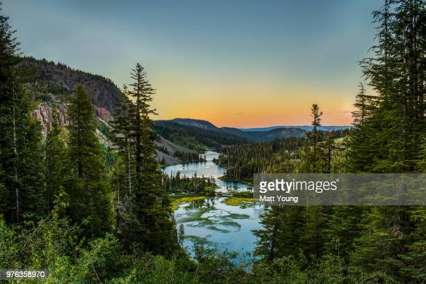 twin lakes at sunset, mammoth lakes, california, usa - images of mammoth stock pictures, royalty-free photos & images