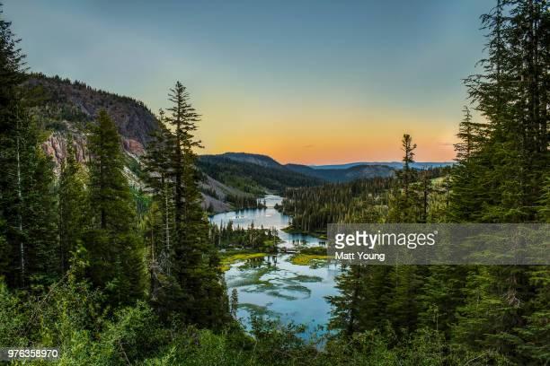 Twin Lakes at sunset, Mammoth Lakes, California, USA