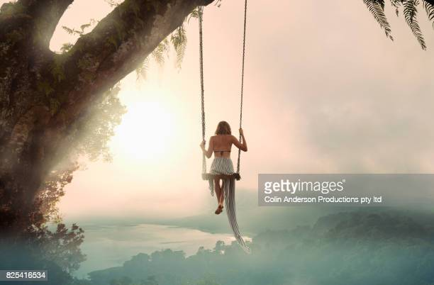 twin lakes swing - luxury girl stock photos and pictures