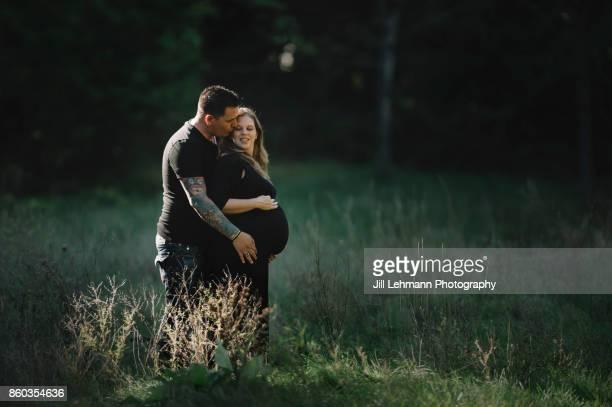 Twin Maternity / Pregnancy with a Middle-Aged Beautiful Blonde and Husband with Tattoos