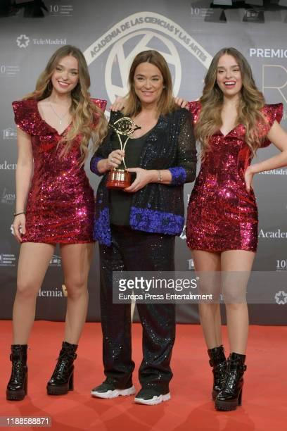 Twin Melody and Toñi Moreno attend 'Iris Academia de Television' awards at Nuevo Teatro Alcala on November 18 2019 in Madrid Spain