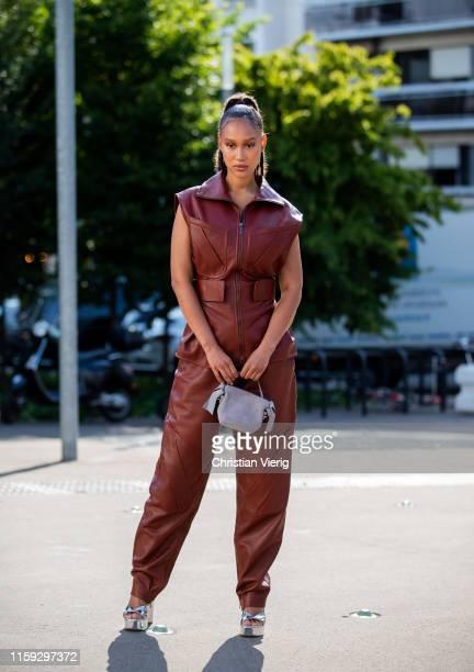 Twin model Victoria Lejonhjarta seen outside Acne during Paris Fashion Week Haute Couture Fall/Winter 2019/2020 on June 30 2019 in Paris France