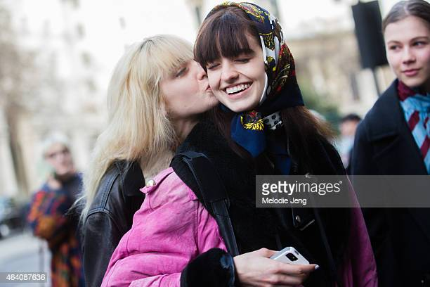 Twin models Baylee and Kelsey Soles exit the Holly Fulton show during London Fashion Week Fall/Winter 2015/16 at Somerset House on February 21 2015...