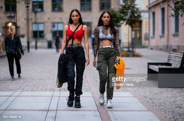 Twin models seen outside FWSS during Oslo Runway SS19 on August 15 2018 in Oslo Norway