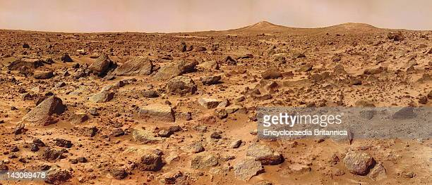 Twin Peaks On Mars A Composite Of Several Images Taken By The Mars Pathfinder Lander Shows The BoulderStrewn Surface Of Mars At Chryse Planitia In...