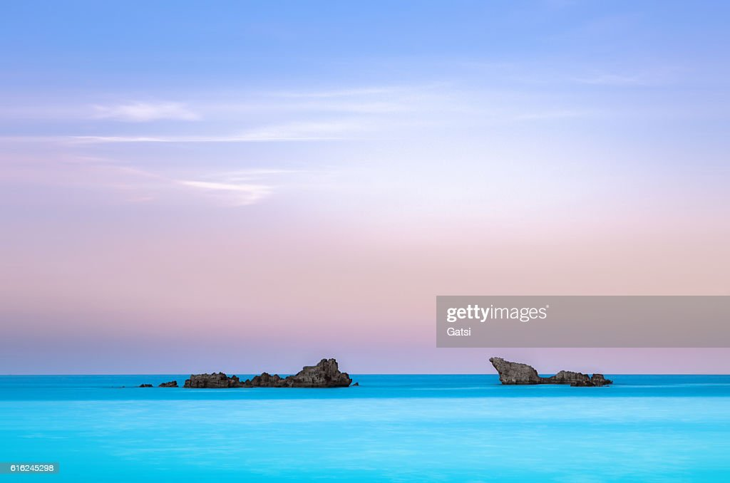 Twin rocks in the sea. : Stock Photo