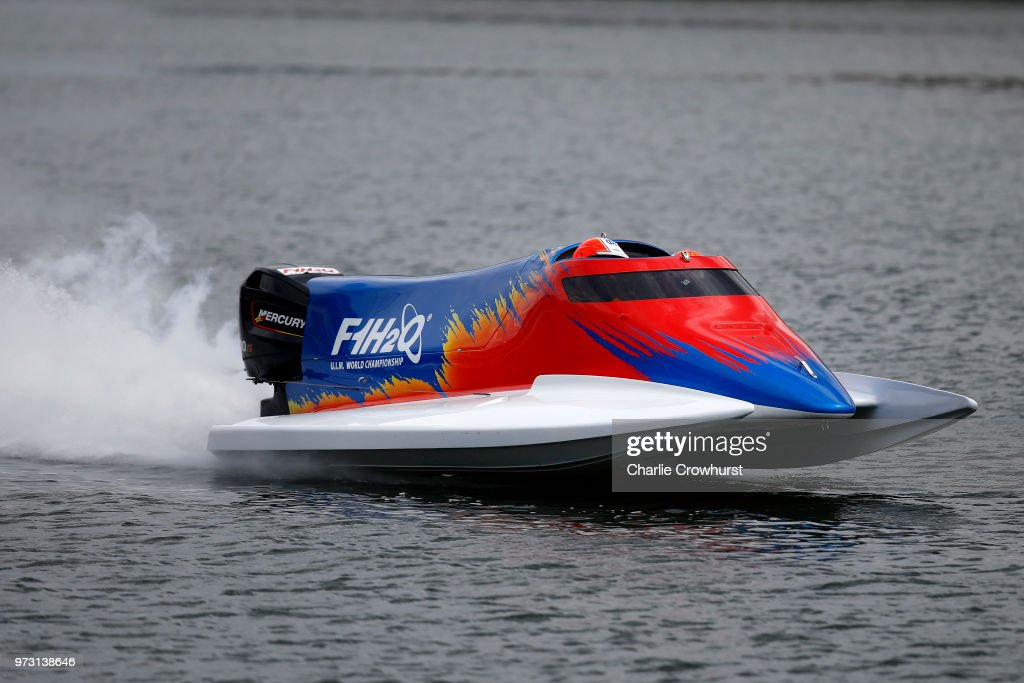 A F1H2O twin seater makes its way down Victoria Dock during the World Championship's press conference, ahead of the London Grand Prix, at ExCel on June 13, 2018 in London, England.