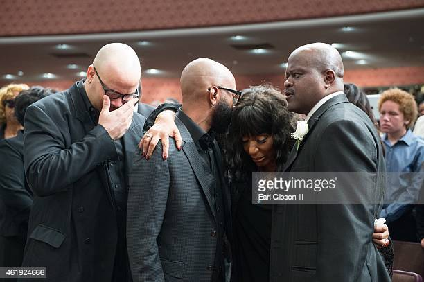 Twin Sister Sandra Crouch is comforted by family at the Andrae Crouch Memorial Celebration Of Life Event at West Angeles Church of God And Christ on...