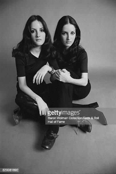 Twin sisters and rock groupies Laura and Lynn Sanchez in San Francisco CA November 1968
