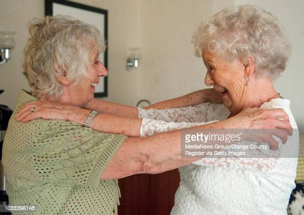Twin sisters Ann Hunt left of Aldershot England and Liz Hamel of Albany Oregon both 78 reunite at the Fullerton Marriott for the first time since...
