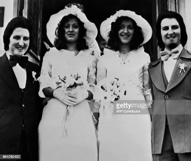 Twin sisters Brigitte and Christine Sztendel married twin brothers Claude and Michel Girard on April 19 1976 in Lens / AFP PHOTO /