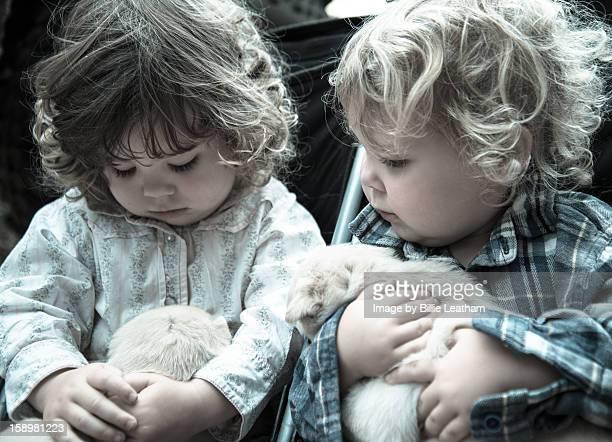 Twin sisters cuddling kelpie puppies