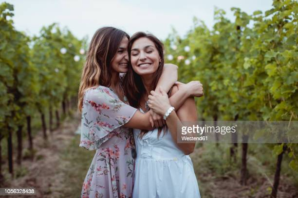 twin sisters embracing at summer picnic in a vineyard - zus stockfoto's en -beelden