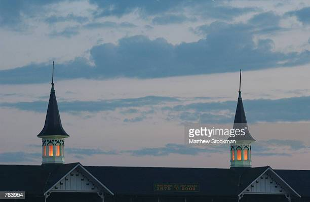 Twin spires during morning workouts of the 128th Kentucky Derby at Churchill Downs on April 30 2002 in Louisville Kentucky