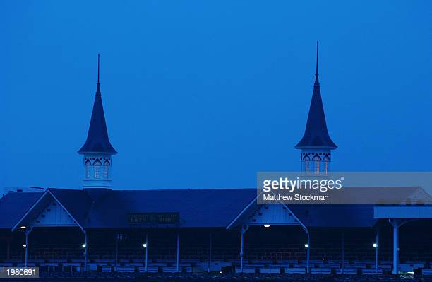 Twin spires over the grandstand on May 2 2003 at Churchill Downs in Louisville Kentucky