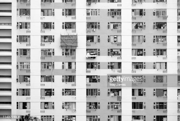 twin tower residential block design from the 1970s - hong kong may james 個照片及圖片檔