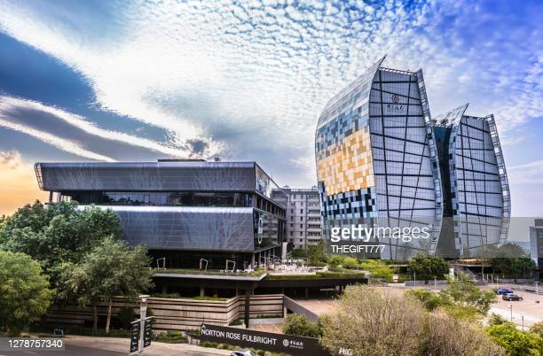 twin towers, norton rose fulbright, absa bank - sandton stock pictures, royalty-free photos & images