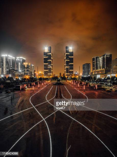 twin towers, zhengzhou, china - henan province stock pictures, royalty-free photos & images