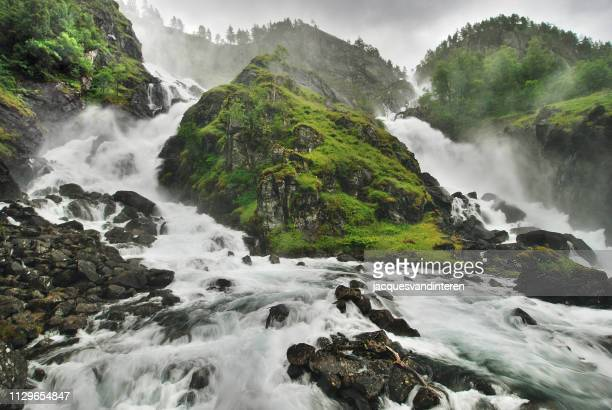 twin waterfall - norway stock pictures, royalty-free photos & images