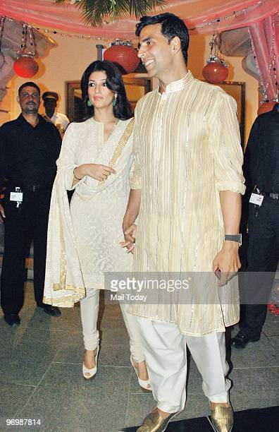 Twinkle and Akshay Kumar at the wedding reception of the daughter of Dr RK Aggarwal in Mumbai on February 21 2010