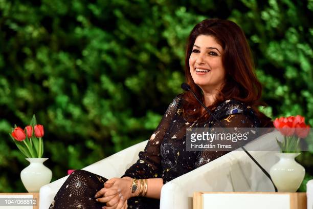 Twinkle Khanna actor author columnist and film producer during a first day of Hindustan Times Leadership Summit 2018 at Taj Palace on October 5 2018...